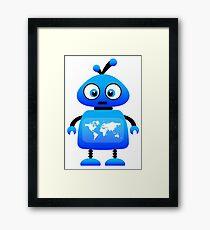 blue robot world travel Framed Print