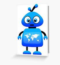 blue robot world travel Greeting Card