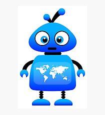 blue robot world travel Photographic Print