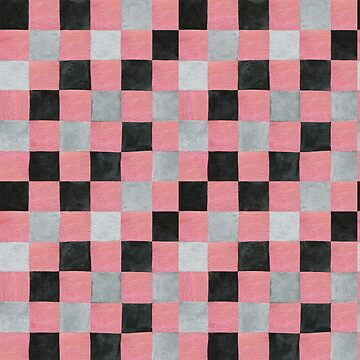 Colourful check pale red, black and grey colours patchwork pattern watercolour painting by Mindreader