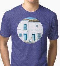 White and blue town Tri-blend T-Shirt