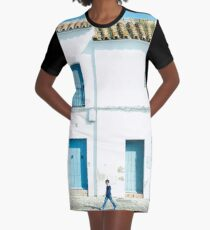 White and blue town Graphic T-Shirt Dress