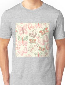 Vector pattern with butterflies in watercolor Unisex T-Shirt