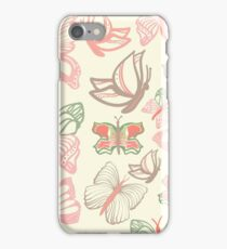 Vector pattern with butterflies in watercolor iPhone Case/Skin
