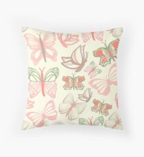 Vector pattern with butterflies in watercolor Throw Pillow