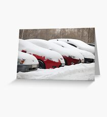 Parking row  cars covered with snow Greeting Card