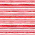 Pretty stripes in red, pink and white, watercolour painting by Sandra O'Connor