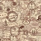 Vintage Passport Stamps by JCDesignsUK