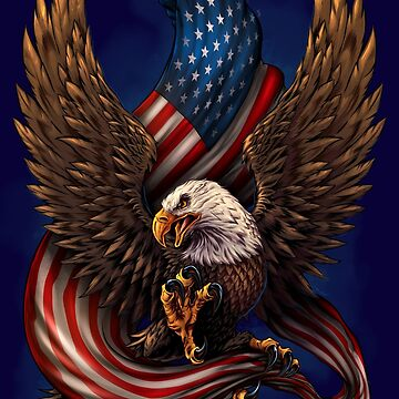 American Eagle and Flag by flylanddesigns