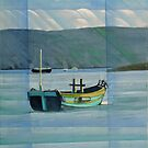 Green Boat on the Dart near Dittisham by Bernard Barnes