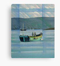 Green Boat on the Dart near Dittisham Canvas Print