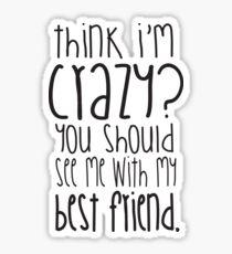 Pegatina ¿Crees que estoy loco? ¡Deberías verme con mi mejor amigo!