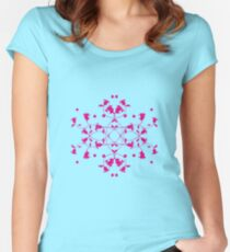 Filigree Tulips Pink on Green Women's Fitted Scoop T-Shirt