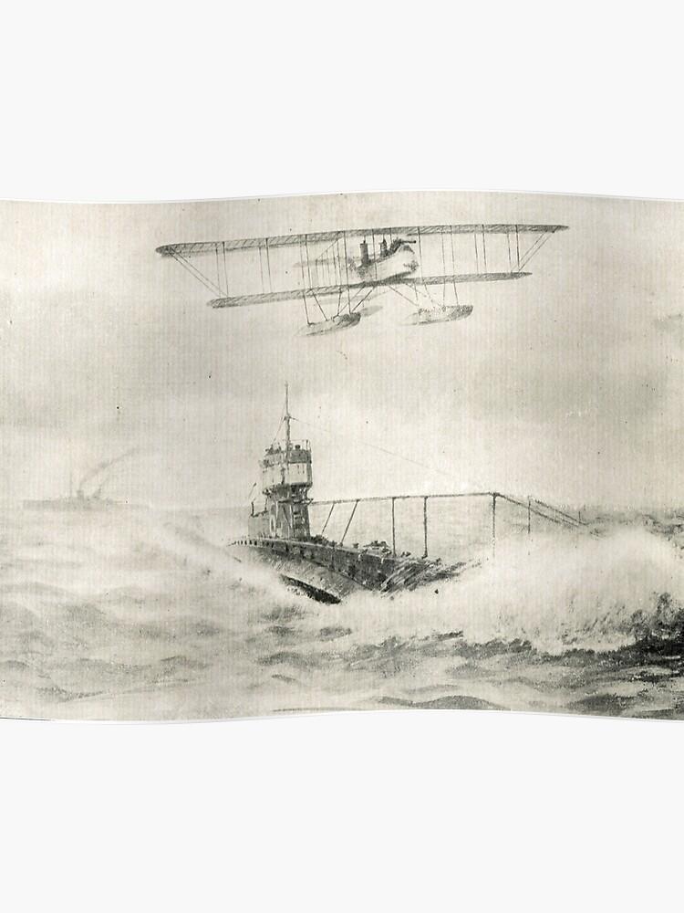 WW1 Floatplane & Submarine sea scene | Poster