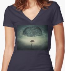 mystic umbrella protection Women's Fitted V-Neck T-Shirt