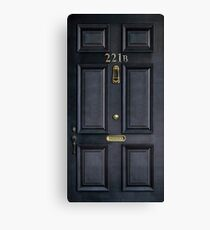 221b baker street black wood door Canvas Print