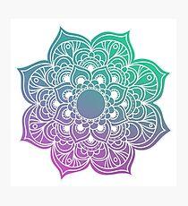 Mandala green purple Photographic Print