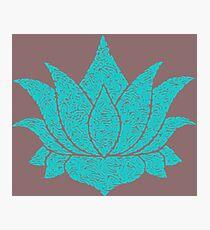 Lotus Doodle - Aqua Photographic Print
