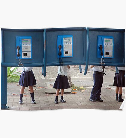 Communication! - School children play with public phone in Costa Rica Poster