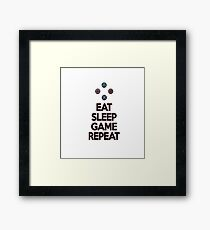 Eat sleep game repeat Framed Print