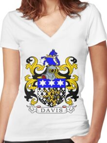 Davis Coat of Arms Women's Fitted V-Neck T-Shirt