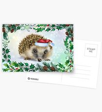 Hedgehog Festive card Postcards
