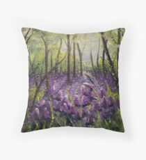 Bluebell Woods Oil Painting by Angela Brown Art Throw Pillow