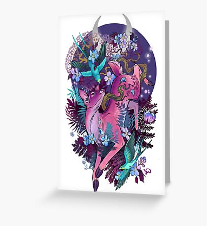 Mystic Midnight Pink White Tail Doe Greeting Card