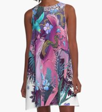 Mystic Midnight Pink White Tail Doe A-Line Dress