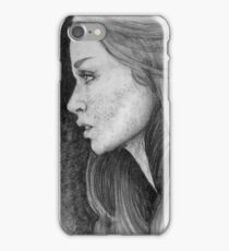 Woman Portrait-Pencil on paper iPhone Case/Skin
