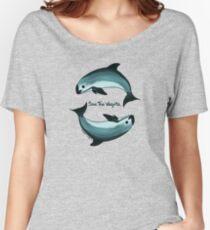 """Spiraling"" vaquita porpoise by artist Amber Marine (Copyright 2015) ~ vaquita art, critically endangered species  Women's Relaxed Fit T-Shirt"