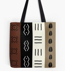 Mudprint Stripes Earth Tone Pattern Tote Bag