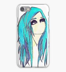 Blue Hair Emo Girl  iPhone Case/Skin