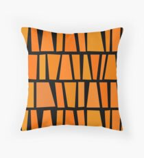 African Inspired Orange Domino Tribal Pattern Throw Pillow