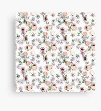Watercolor seamless pattern with apricots and blooming flowers Canvas Print