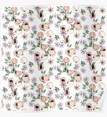 Watercolor seamless pattern with apricots and blooming flowers Poster