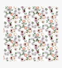Watercolor seamless pattern with apricots and blooming flowers Photographic Print