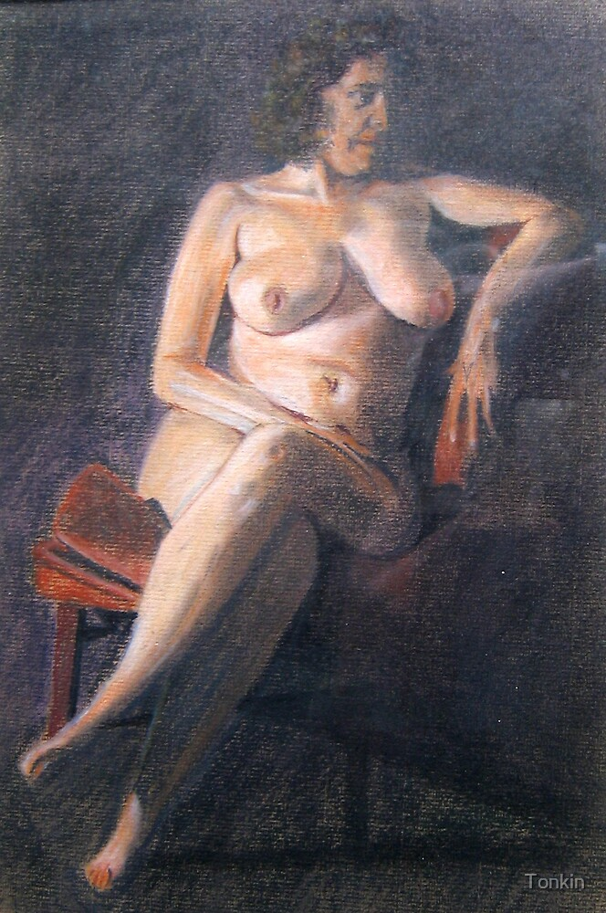 Sitting Nude by Tonkin