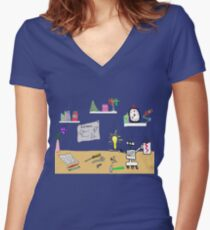 Scientist Lab with Robot Women's Fitted V-Neck T-Shirt