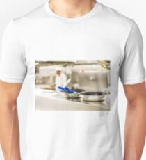 Commercial Pans with Chef in Background Unisex T-Shirt