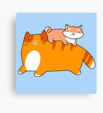 Orange Tabby and Shiba Pup Canvas Print