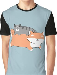 Blue Tabby and Shiba Graphic T-Shirt