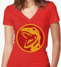 Dino Red Women's Fitted V-Neck T-Shirt