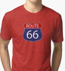 Route 66 Road Sign Tri-blend T-Shirt