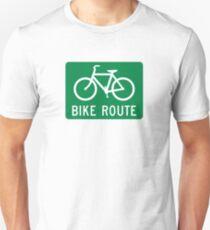 Bike Route Sign Unisex T-Shirt
