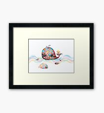 Patchwork Whale Framed Print