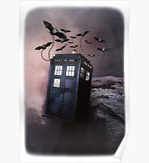 Flying Blue Box In Space Hoodie / T-shirt Poster