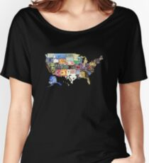 USA vintage license plates map Women's Relaxed Fit T-Shirt