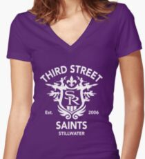 Saints Row 3 Tribute Emblem Women's Fitted V-Neck T-Shirt