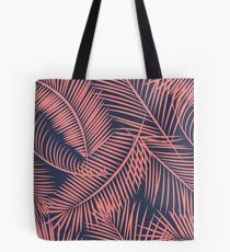 Fern Leaf Toss in Coral and Navy Tote Bag